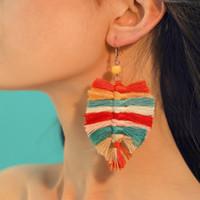 Wholesale dangle earring online - Bohemian Leaf Tassel Drop Dangle Earrings Colors Beach Statement Earrings Vintage Jewelry Accessories for Women Girls DHL