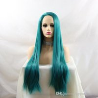 Wholesale colorful wigs online - Colorful Synthetic Lace Front Wigs Long Heat Resistant Fiber Hair Glueless Straight Natural Hairline Heat Resistant Lacefront Synthetic Wig