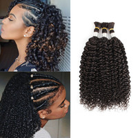 Wholesale 24 inch braiding hair resale online - Brazilian Curly Hair Bulk for Braiding Jerry Curl No Weft Bundles Deal Indian Human Hair Extension