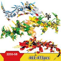 ingrosso ninja blocca i giocattoli-4 modelli Hsanhe Ninjago Set Building Blocks 3 in 1 Ninja Mech Cavaliere del Drago Garmadon Charlie fai da te Giocattoli educativi Mattoni Giocattoli # 2255-2258
