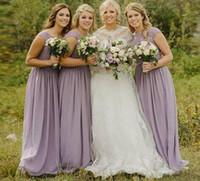 leichte lila kleider für frauen großhandel-Neue elegante Lavendel Licht Lila Chiffon Brautjungfer Kleid Lange Plus Größe Spitze Land Hochzeitsgast Party Kleid Frauen Günstige Prom Kleider