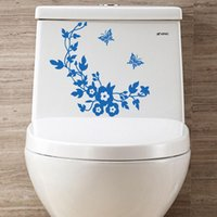 Wholesale funny bathroom decor resale online - Funny Novelty Butterfly Flower Toilet Seat Sticker Decal DIY Home Living Room Bathroom Wall Fashion Mural Decor
