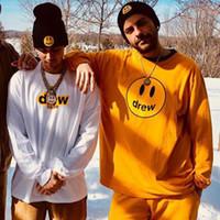 ingrosso camicie in cotone giallo a manica lunga-T-shirt a maniche lunghe Drew house Justin Bieber Hip Hop Top Donna Uomo T-shirt casual in cotone Nero Giallo HOH0335
