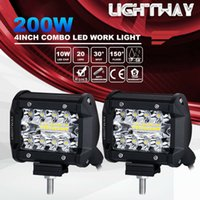 luz led de vaina al por mayor-2 unids 4 pulgadas 200 W CREE LED barra de luz de trabajo Pods Flush Mount Combo lámpara de conducción 12V 6000K 20000LM para conducir Offroad barco coche