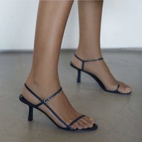 kleid nackte frau groihandel-Begehrenswerte Designer-Frauen-T-Riemen Pumps mit hohen Absätzen Nackte Leder-Absätze Sandalen Damen-Sandalen aus weichem Leder mit schmalen Riemen Dress Party Shoes