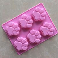 жидкий белый шоколад оптовых-50 шт./лот оптовые силиконовые формы 6 решетки кошачий след ручной работы мыло плесень силиконовые формы торт
