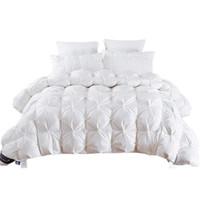 weiße quilts großhandel-2.7 ~ 4.9kg Gans / Entendaunen Steppdecke Duvet King Queen Twin Größe Weiß / Blau / Rosa / Braun Luxus Winter Decke Tröster Füller