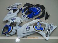 carenados k7 al por mayor-3Gifts Nueva ABS motocicleta Kits de carenados de bicicleta aptos para Suzuki GSXR1000 K7 2007 2008 GSXR-1000 07 08 kits de carenado personalizado azul blanco suerte
