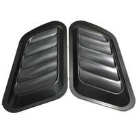 plastik havalandırma deliği toptan satış-1 Çift Araba Hava Akışı Emme Scoop Turbo Bonnet Vent Kapak Hood Fender Gri / Siyah