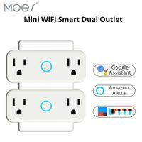 interruptor de salida wifi al por mayor-WiFi Smart Socket Enchufe de interruptor de pared de salida doble estándar de los EE. UU. Trabaja con Amazon Alexa y Google Home