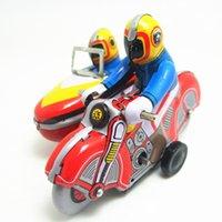 motosiklet kalay metal toptan satış-Klasik koleksiyonu Retro Clockwork Wind up Metal Yürüyüş Kalay Üç motosiklet oyuncak Mekanik turlar mermi çocuklar noel hediyesi
