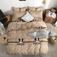 tamanho da cama tamanho da cama venda por atacado-Fundamento luxuoso Define Brown Roupa de cama edredon cobrir Folha de cama fronha Breve Set Rei completa Rainha Twin tamanho da cama conjunto