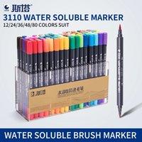 ingrosso artisti forniture-Sta 80colors Double Head Artist Solubili colorate Sketch Brush Set penna per disegno disegno vernici Art Marker Supplies Q190604