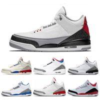 свободные настоящие баскетбольные туфли оптовых-Nike air jordan 3 3s Реальный горячий 3 3S баскетбол обувь международный полет черный цемент огонь красный свободный бросок линия благодарные спортивные кроссовки размер 7-13