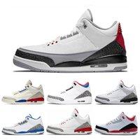 kostenlose echte basketballschuhe großhandel-Nike air jordan 3 3s Wirkliche heiße 3 3s Basketballschuhe internationaler Flug-Schwarz-Zement-Feuer-rote Freiwurflinie Dankbare Sport-Sneaker-Größe 7-13