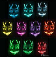 ingrosso neon controller-LED Light Mask Up Funny Maschera Striscia led Insegna neon flessibile Luce Glow EL Fune metallica Luce al neon Controller viso Halloween luci natalizie