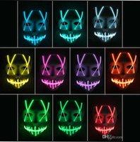 ingrosso luci a nastro di filo al neon-LED Mask Up divertente maschera principale della striscia al neon flessibile del segno LUMINESCENTE fune metallica della luce al neon di Halloween faccia controller luci di Natale