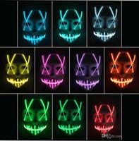 enseignes au néon de noël achat en gros de-LED Masque Masque drôle bande Led néon flexible signe Glow Light EL Wire Rope Neon Light Halloween visage contrôleur lumières de Noël