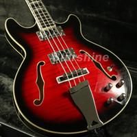 guitarra llama arce hueco al por mayor-JBbPGSR4078 Semi Hollow Body 335 Bajo eléctrico Guitarra Korea Chapa superior de arce flameado