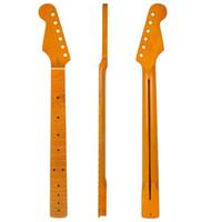 violão esquerdo amarelo venda por atacado-Clássico Amarelo Left Handed Lefty Guitarra Maple Neck Para Fender Stratocaster Strat p7
