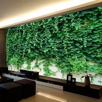 Wholesale climbing wall decor online - Custom Any Size D Wall Murals Wallpaper Green Vine Leaves Climbing Tiger Background Wall Decor Mural Non woven Wall Paper Rolls