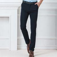 slim costume noir ajusté achat en gros de-2019 Style coréen long pantalons de couleur noire pour hommes droites pantalon de costume élastique Mens Slim Fit Business formelle pour les hommes occasionnels pantalons