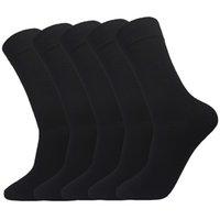 costume de corbeau noir achat en gros de-5 Pack Hommes Noir Bambou Coton Chaussette Hommes Casual Business Flat Crew Mi Chaussette Costume pour Femmes Ou Haute Élasticité Taille 39-42