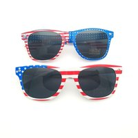 Wholesale red shade glasses resale online - USA National Flag Sunglasses Women And Men Eyewear Prom Decorate Spectacles Sun Shading Red Blue Fashion zw C1