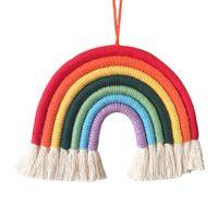 baby dekorationen für kindergarten großhandel-IN home baby Nursery Raum Regenbogendekoration Anhänger Hand Weben Regenbogen hängende Wand C1553
