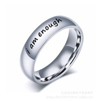 ingrosso anelli in titanio unici-Io sono abbastanza lettere anello in acciaio inox Depressione dell'anello di umore di titanio d'acciaio delle donne degli uomini di personalità monili unici di moda