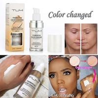 defecto del bloque de blanqueamiento al por mayor-TLM Flawless Color Changing Foundation Tono de piel cálido Color Cara Maquillaje Base Desnudo Facial Hidratante Líquido Cubierta Corrector SPF15