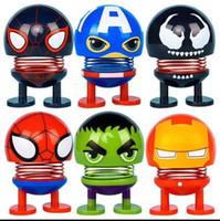 kopfschütteln spielzeug großhandel-Cteative Avengers Shaking Head Puppen Red Spider Incredible Hulk Multi Charakter Spielzeug Fit Home Car Decoartion 2 2yy E1