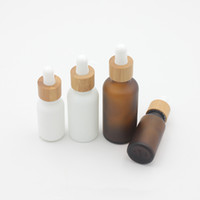 wesentliche flasche mattiert großhandel-15ml 30ml 50ml Frosted Bernstein, Weiß, Glas Tropfflasche mit Bambus Cap 1 Unze Glas Bambus wesentlicher Öl-Flasche