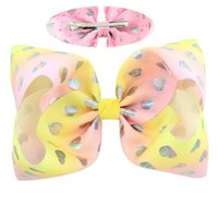 Wholesale valentine hair online - 8inch colors sequins love heart Print Big Ribbon Hair Bows with clips Valentines Day Hair Bows for Girls Hair Accessories