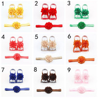 Wholesale flower feet accessories online - Baby Accessories Girls Barefoot Sandals Baby Girl Kids Flower Barefoot Sandals Shoes Headband Flower Foot Band
