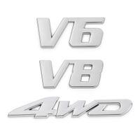 Metal Supercharged Car Trunk Tailgate Emblem Badge Decals Sticker V6 V8 Sport