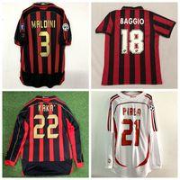 Wholesale red shirt football resale online - Retro classic Milan soccer jerseys INZAGHI PIRLO MALDINI KAKA SHEVCHENKO AC Retro football shirt S XL