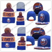 f81631c02cb New York Islanders Ice Hockey Knit Beanies Embroidery Adjustable Hat  Embroidered Snapback Caps Blue White Gray Stitched Hats One Size