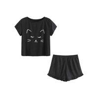 kedi suit pijama toptan satış-Kadınların Gündelik Kedi Kıyafeti Set Güzel Şort Kısa Kollu Ruffled T-Shirt Pijama Takım Kadın Giysileri Seksi Pijama YENI