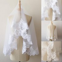 Wholesale shoulder veils resale online - 1 M Short One Layer Lace Sequin Edge White Ivory Wedding Veil Tulle Bridal Veil Cheap Wedding Accessories Voile Mariage CPA218
