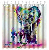 pinturas da arte abstracta indiano venda por atacado-Vintage Abstrato Colorido Elefantes Indianos Pinturas A Óleo Da Arte Da Arte, À Prova D 'Água Tecido De Poliéster Cortinas de Banho Decorativo