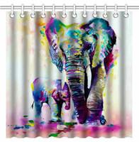 indian abstrakte gemälde großhandel-Weinlese-abstrakte bunte indische Elefant-Familien-Ölgemälde-Kunst, wasserdichtes Polyester-Gewebe-dekorative Badvorhänge