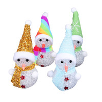 árvore de natal iluminada do brinquedo venda por atacado-Boneco de neve de natal luz do ornamento do natal papai noel cervos urso noite luz crianças brinquedos presentes de natal árvore pingente luzes