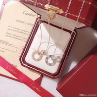 rosa spike halsbänder großhandel-Schmuck Designer Halskette Womens Luxus Anhänger Warenkorb Marke Double Loop Kette Sterling 925 Silber Mode Bijoux de Dame Originalverpackung