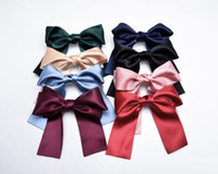 Wholesale asian long hair for sale - Group buy New Handmade Streamer Bow Hair Clip Long Ribbon Satin Hair Spring Clip Super Large Bow Clip Girls Hair accessories Colors