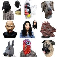 Wholesale chicken masks resale online - Halloween Headgear Adult Lovely Donkey Dog Hawk Bird Realistic Bald rooster chicken Head Modeling Headgears Latex Animals party Masks New Ar