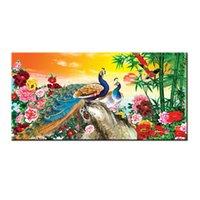 pássaros da arte da parede da lona venda por atacado-Casa Sala de estar Art Wall Decor Animal Pássaro Pavão Peafowl Vento China Feng Shui Pintura Imagem Moderna Impresso em Presentes de Lona BFS4030
