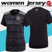 mexico jersey girls al por mayor-2019 Copa Mundial Femenina de México jerseys casa negro camiseta de fútbol 19/20 hogar femenina de fútbol camisa de la muchacha a medida fútbol uniformes