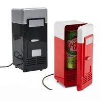 nevera de coche fresco al por mayor-Nuevo 2 en 1 Escritorio Mini Refrigerador USB Gadget Latas de bebidas Enfriador Calentador Refrigerador Con luz LED interna Uso de automóvil Mini refrigerador