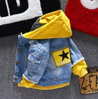 Wholesale coats sports for kids for sale - Group buy Boy girl Denim Jackets kids jeans coat Children splice Outerwear clothing Spring Autumn boy hooded sport Clothes For T kids V191118
